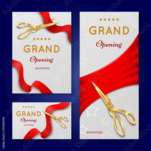 Ribbon cutting with scissors grand opening ceremony vector ribbon cutting with scissors grand opening ceremony vector invitation cards banners stopboris Image collections