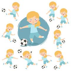 Girl Playing Football Soccer Sport Set Vector Illustration Kids