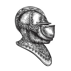 Knight helmet sketch. Vector illustration