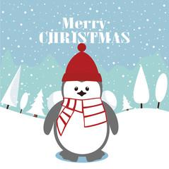 Penguin. Merry Christmas postcard