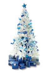 White Christmas trees with gifts and decoration