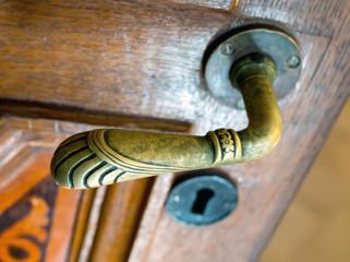 Old bronze door handle in the form of animal paws