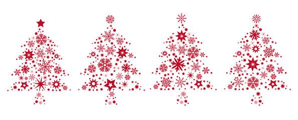 vier Weihnachtsbäume mit rotren Sternen geschmückt