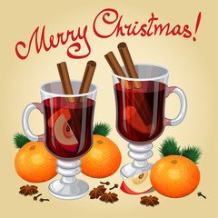 Christmas mulled wine with spices and mandarines