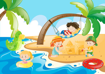 Children enjoy playing on the beach