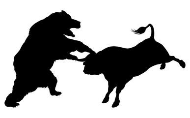 Bull Versus Bear Silhouette Concept