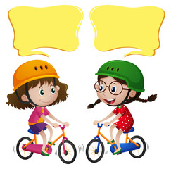 Speech bubble template with two girls riding bike