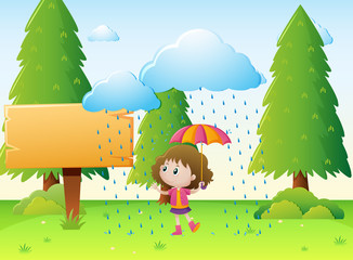 Wooden sign template with girl in the rain