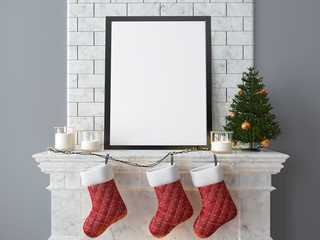 Christmas Mock up poster, fireplace, candles, Christmas balls, Christmas tree, 3d interior rendering