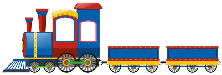 Blue train with two carts