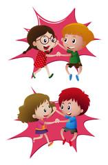 Two pair of kids dancing