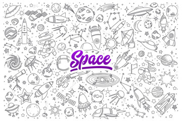 Hand drawn set of space objects doodles with lettering in vector