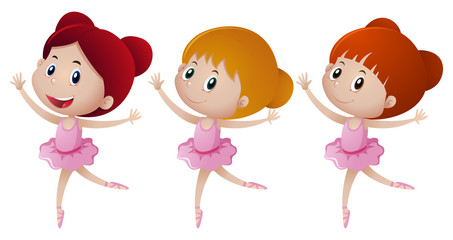 Three girl in pink ballet outfit