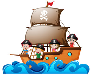 Four kids playing pirate in the ship