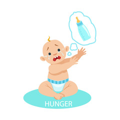 Little Baby Boy In Nappy Is HungryAnd Needs A Bottle,Part Of Reasons Of Infant Being Unhappy And Crying Cartoon Illustration Collection
