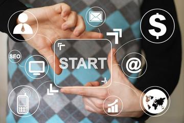 Business button start connection communication virtual network