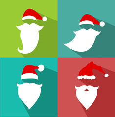 Flat Design Vector Santa Claus Face