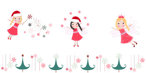 Cute christmas angels. Merry christmas greeting card vector