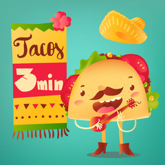 Happy taco character in sombrero singing and playing Mexican guitar, cartoon vector poster, banner, leaflet design for cafes and restaurants. Special offer design with singing funny taco character