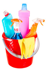 bucket and cleaning products for home cleaning isolated