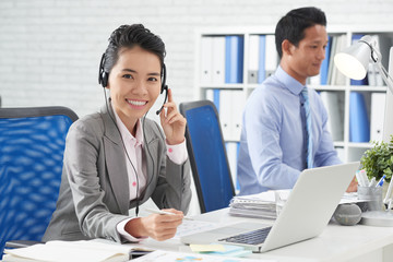 Business lady in headset