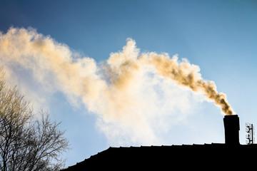 dym z komina - ogrzewanie domu zimą