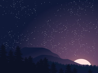 Starry night sky. Sunset, dawn sun over the mountains in forest. Vector illustration nature a mountain landscape