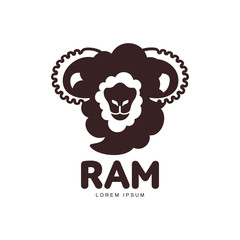 Front view ram, sheep, lamb head graphic logo template, vector illustration on white background. Front view black and white sheep, lamb, ram silhouette head for business, farm, wool products logo