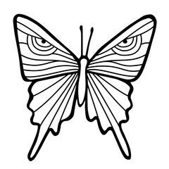 Black outline butterfly in white background. Hand drawing sketch of insect.