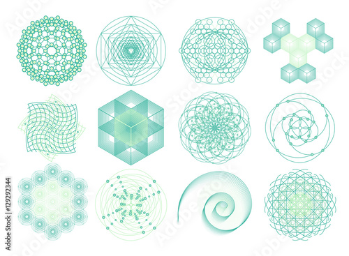 Sacred geometry symbols and elements set  12 in 1  Cosmic