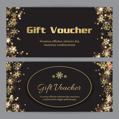 Christmas gift voucher with gold snowflakes