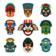 Tribal indian or african colorful masks set on white background. Vector illustration