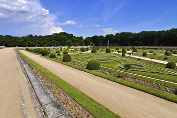 CHENONCEAU, FRANCE - JUNE,2013 - Garden at the Chateau de Chenonceau, Loire Valley castle near the village of Chenonceaux.