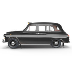 Side view Classic black British taxi on white. 3D illustration
