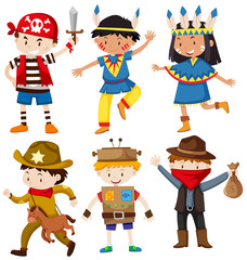 Children in different costumes