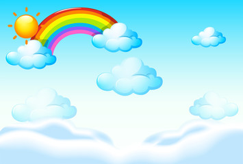 Background template with rainbow and clouds