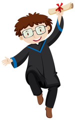 Man with glasses in black graduation gown