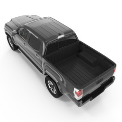 Rear view of empty pick-up truck on white. 3D illustration