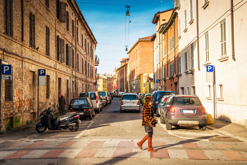 Old street in Parma, Emilia-Romagna region, Italy.