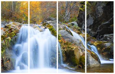 Waterfall in autumn season. Collage of a single photo.