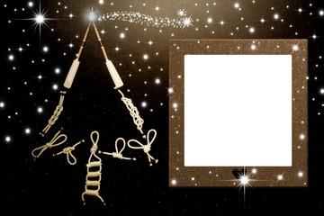 Christmas photo frame tree marine style card.