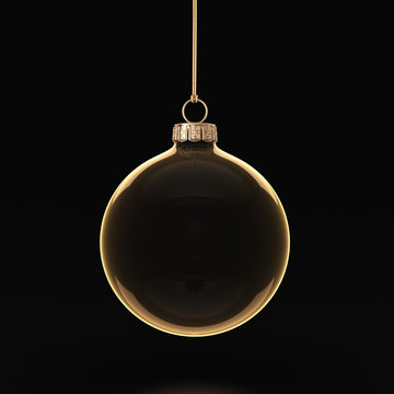 3D rendering transparent Christmas ball