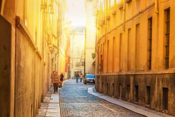 Old narrow street in Parma, Emilia-Romagna, Italy.