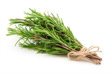 Rosemary bound on a white background