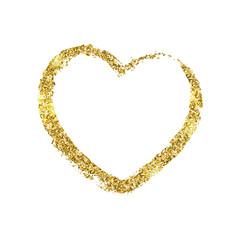 Golden brushstroke in the form of heart. Glitter shiny texture.