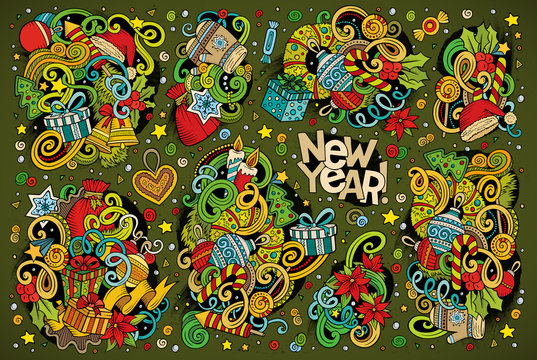 Doodle cartoon set of New Year and Christmas objects