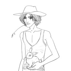 Cartoon style drawn vector isolated illustration of blond sexy country young man in a cowboy hat with a rabbit in his hand. Coloring book. Line art.
