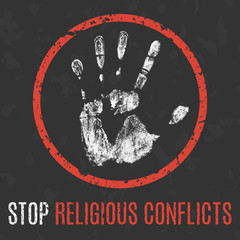 Vector. Social problems of humanity. Stop religious conflict.