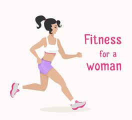 Vector girl goes jogging, woman makes cardio exercise