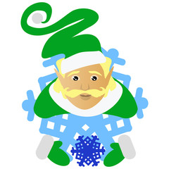the elf Santa Claus the blonde in the form of a snowflake an icon. to hold snow in hand. on  white background. for the press, undershirts, t-shirts, fabric, cards, design. vector illustration